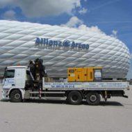 Stromaggregat auf LKW Ladefläche vor der Allianz Arena in München